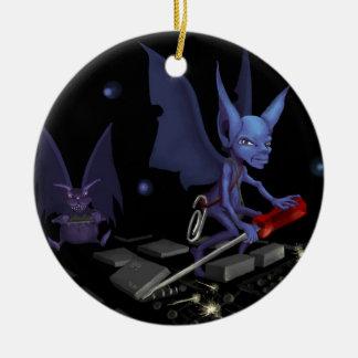 Gremlins at Work Ceramic Ornament