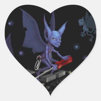 Gremlins at Work Heart Sticker