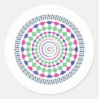 gren red blue geometric pattern classic round sticker