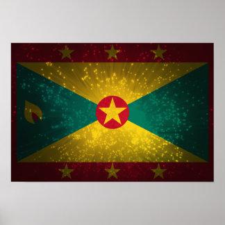Grenada Flag Firework Poster