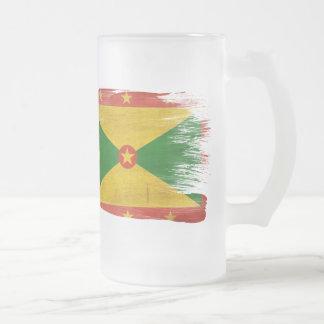 Grenada Flag Frosted Glass Beer Mug