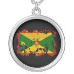Grenada Flag Round Pendant Necklace