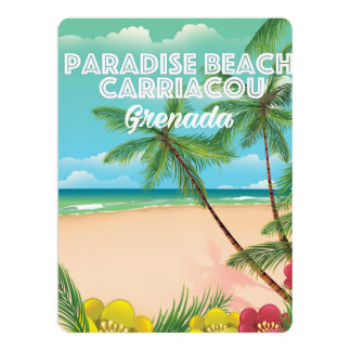 Grenada paradise beach carriacou Travel Poster Card