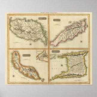 Grenada, Tobago, Trinidad, Curacao Poster