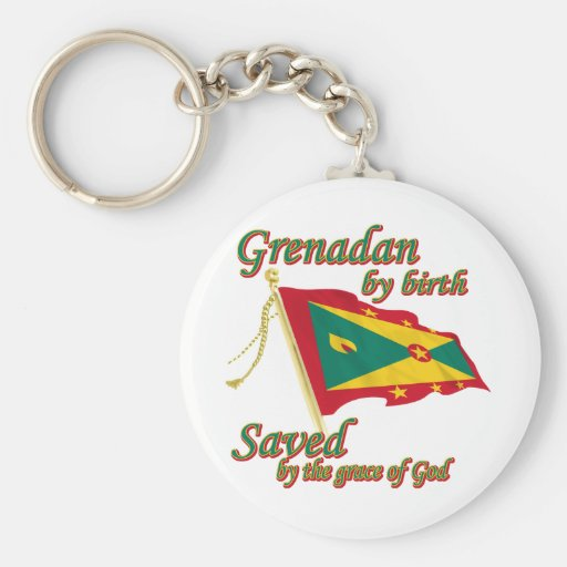 Grenadan  by birth saved by the grace of God Basic Round Button Keychain