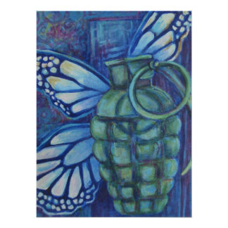 Grenade and Butterfly, Art Poster