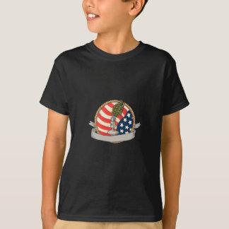Grenade Microphone USA Flag Circle Retro T-Shirt