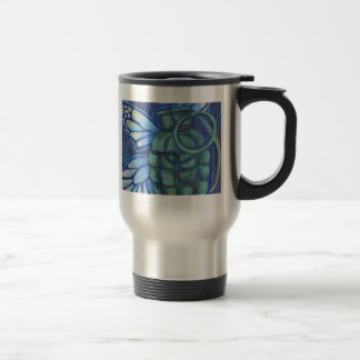 Grenade with butterfly 15 oz stainless steel travel mug