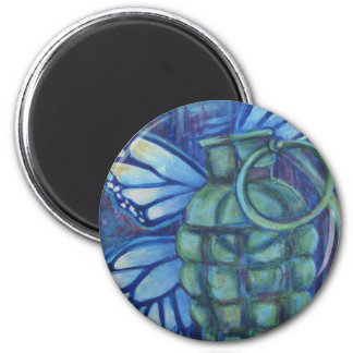 Grenade with butterfly 2 inch round magnet