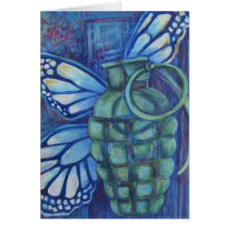 Grenade with butterfly greeting card