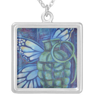 Grenade with butterfly square pendant necklace