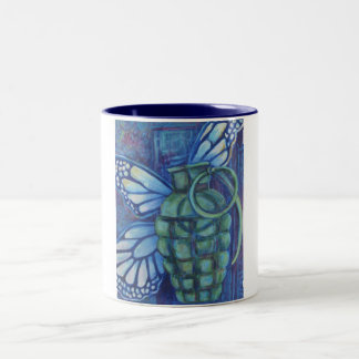Grenade with butterfly Two-Tone coffee mug