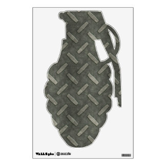 Grenade With Diamond Plate Steel Wall Sticker