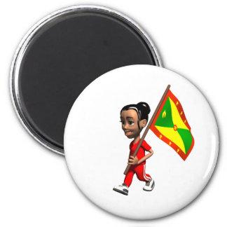 Grenadian Girl 2 Inch Round Magnet