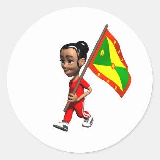 Grenadian Girl Classic Round Sticker