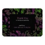 Grenn Purple Leaves Fall Wedding Thank You Card