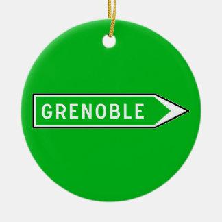 Grenoble, Road Sign, France Ceramic Ornament