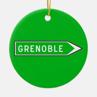 Grenoble, Road Sign, France Double-Sided Ceramic Round Christmas Ornament