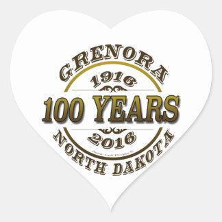 Grenora Centennial Memorabilia Heart Sticker
