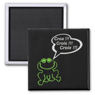 Grenouille vert gris FOND NOIR 2 Inch Square Magnet