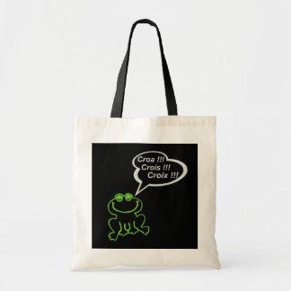 Grenouille vert gris FOND NOIR Tote Bag