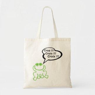 Grenouille vert noir tote bag