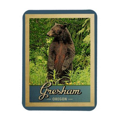 Gresham Oregon Vintage Travel Bear Magnet