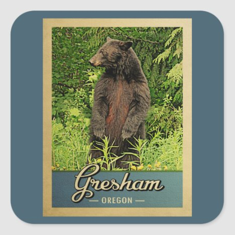 Gresham Oregon Vintage Travel Bear Square Sticker