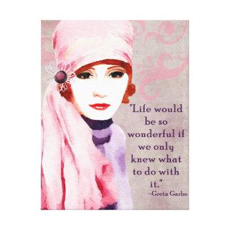 Greta Garbo Quote on Life Canvas Print