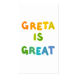 Greta is Great fun colorful name gifts happy art Business Card