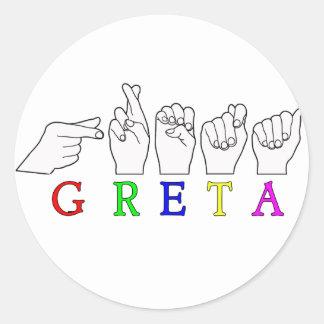 GRETA NAME FINGERSPELLED ASL HAND SIGN CLASSIC ROUND STICKER
