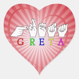 GRETA NAME FINGERSPELLED ASL HAND SIGN HEART STICKER