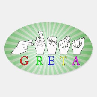 GRETA NAME FINGERSPELLED ASL HAND SIGN OVAL STICKER