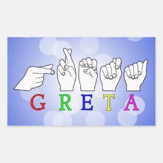 GRETA NAME FINGERSPELLED ASL HAND SIGN RECTANGULAR STICKER
