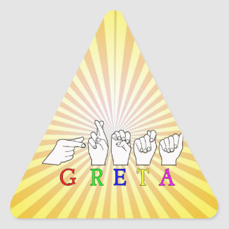 GRETA NAME FINGERSPELLED ASL HAND SIGN TRIANGLE STICKER