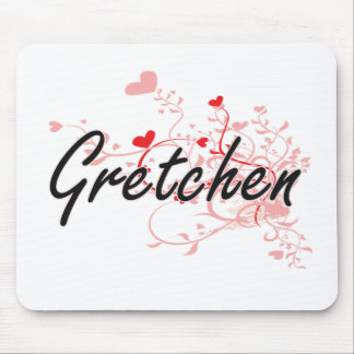 Gretchen Artistic Name Design with Hearts Mouse Pad