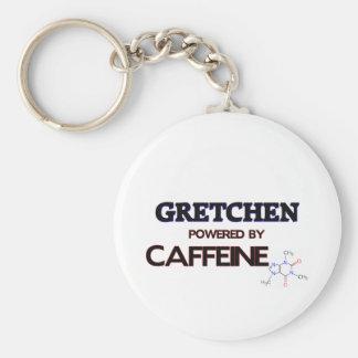 Gretchen powered by caffeine basic round button keychain