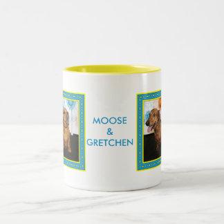 Gretchen y alces - Dachshund -2 Taza De Dos Tonos
