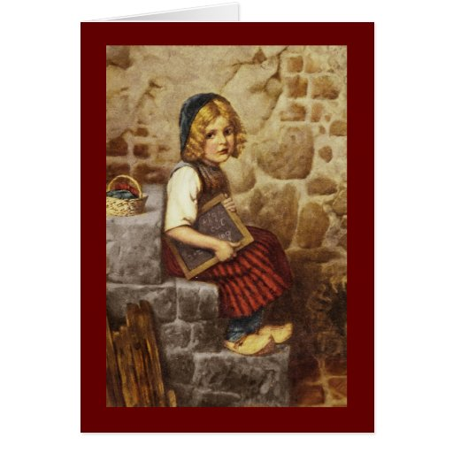 Gretel with Schoolwork Greeting Cards