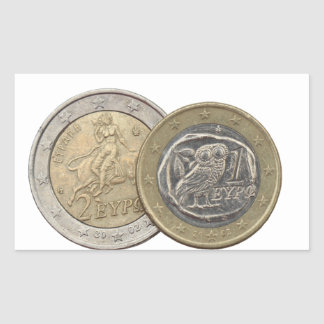Grexit: soon to be rare greek euro coins rectangular sticker