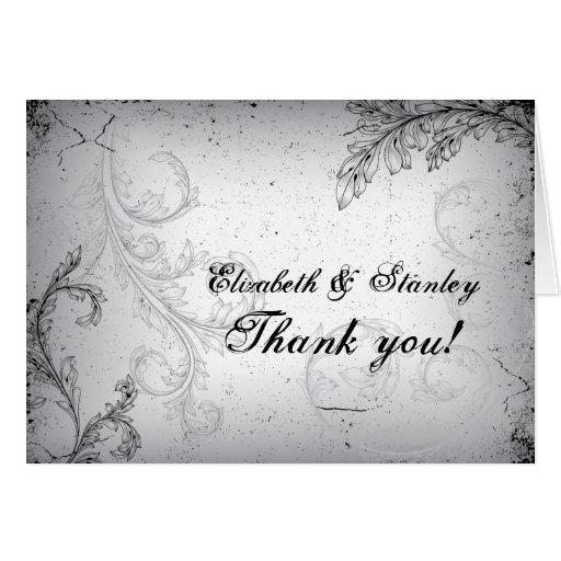 Ypus Silver Wedding Thank: Grey 25th Silver Wedding Anniversary Thank You Card