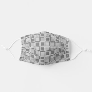 Grey 70's year styling squares cloth face mask