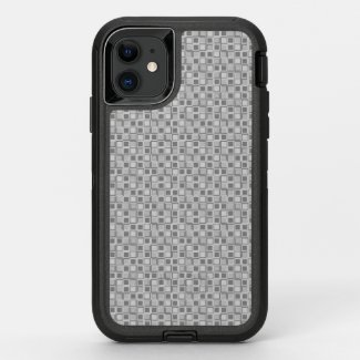 Grey 70's year styling squares OtterBox defender iPhone 11 case