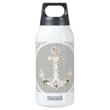 Beach Themed grey abstract pattern vintage anchor nautical insulated water bottle