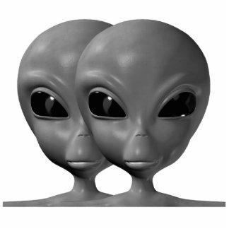Grey Alien Duo Photo Sculpture Keychain
