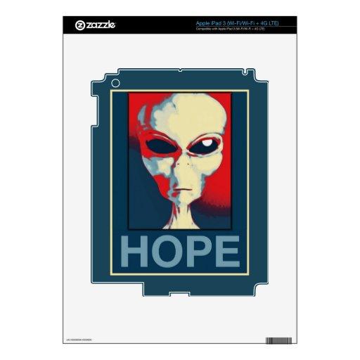 Grey Alien Hope iPad 3 Skins
