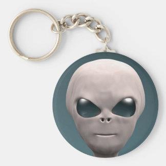 Grey Alien Basic Round Button Keychain