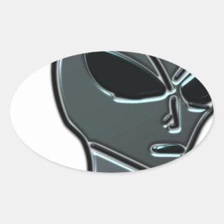 Grey alien oval sticker