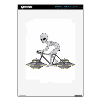 Grey Alien Riding Bike With UFO Wheels iPad 3 Skins
