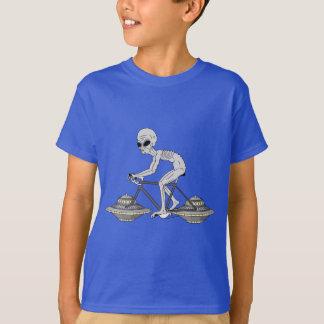 Grey Alien Riding Bike With UFO Wheels T-Shirt